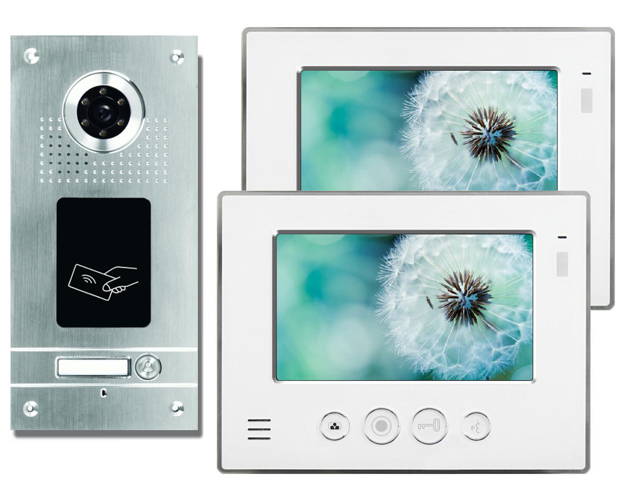 IR-Nachtsicht HFeng 4,3  Farb-Video-Gegensprechanlage-T/ürsprechanlage-Kit RFID-Zugangskamera-T/ürklingel 700TVL 100 Meter 3 Innenmonitore f/ür 3 Apartments//Home